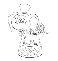 Cartoon image of elephant wearing circus hat vector