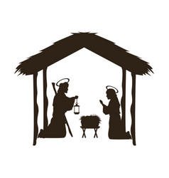 Christmas christian scene with baby jesus in the vector