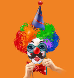 Circus clown head colorful background poster vector