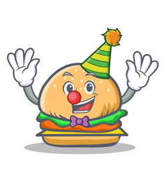 Clown burger character fast food vector