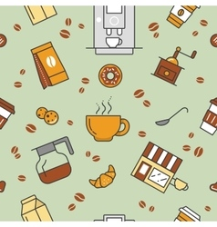 Coffee time line art thin seamless pattern vector