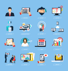 Crm system flat icons set vector