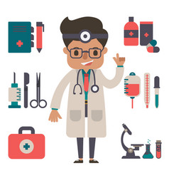Doctor with equipment concept of vector