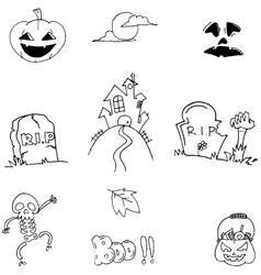 Doodle halloween flat element vector
