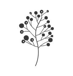 Gray scale big branch olive with fruits vector