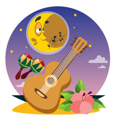 Guitar and maracas colored on the theme of summer vector