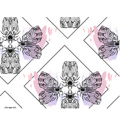 Hand drawn textured lined ink graphic moth vector