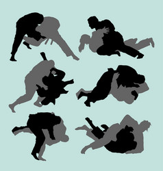 judo fight sport silhouette vector image vector image