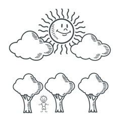 Kid sun tree nature cartoon design vector