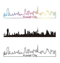 Kuwait City skyline linear style with rainbow vector image