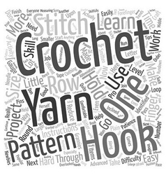 Learn to crochet 1 text background wordcloud vector