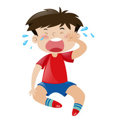 little boy in red shirt crying vector image