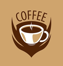 Logo coffee cup and shield vector