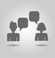 Male and female socializing speech bubble icons vector