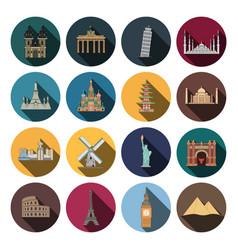 modern landmark icons vector image vector image