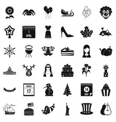 National folklore icons set simple style vector