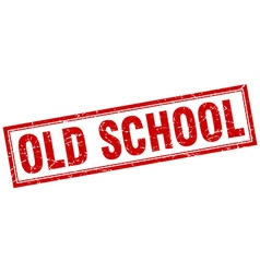 old school red grunge square stamp on white vector image vector image