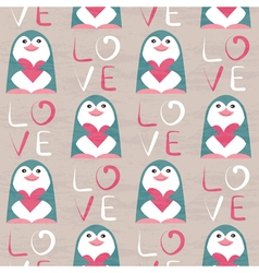 Penguin with heart seamless pattern vector