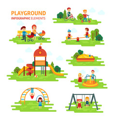 Playground infographic elements flat vector