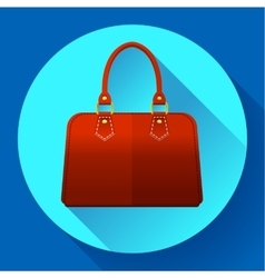 Red fashion women hand bag icon Flat design style vector image vector image