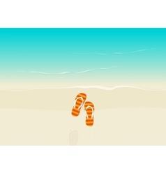 Sand beach with flip flops vector image