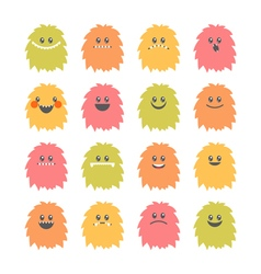 Set of cartoon smiley monsters collection of vector