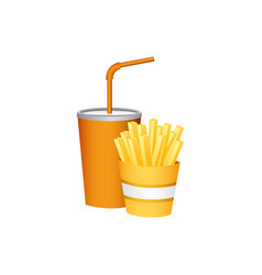 Soda and fries french fast food vector