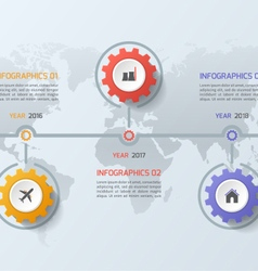 Timeline infographic template with gears 3 steps vector