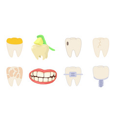 Tooth icon set cartoon style vector