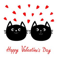 two black cat head couple family icon red heart vector image
