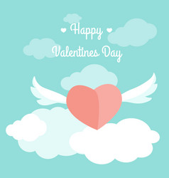 Valentine day card template heart wings sky text vector