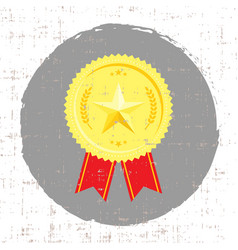 winner medal with golden star icon with screen vector image vector image