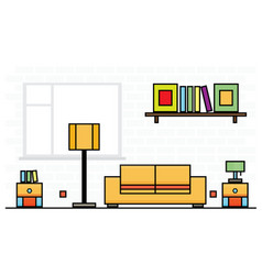 Yellow sofa with two curbstones and lampshade vector
