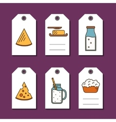 Dairy products sale badges set vector