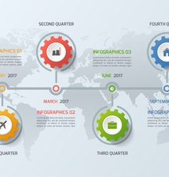 Timeline infographic template with gears 4 steps vector