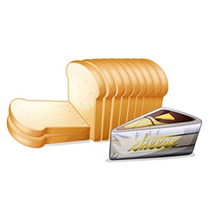 Sliced bread with cheese vector