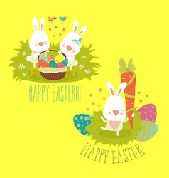 Collection of easter bunny with colorful egg vector