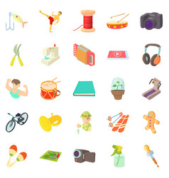 Fun hobby icons set cartoon style vector