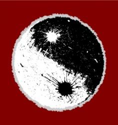 grunge Yin Yang vector image