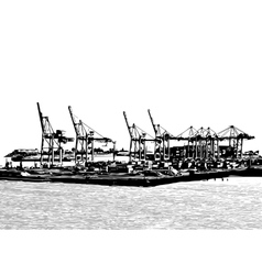 Harbor cranes vector
