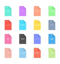 Coding and programming icon on colored sheets vector
