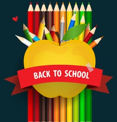 Welcome back to school with apple and colour vector