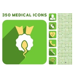 Sperm winner icon and medical longshadow icon set vector
