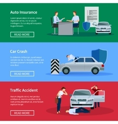 Auto insurance horizontal banner set vector