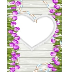 Heart shape frame with tulips eps 10 vector