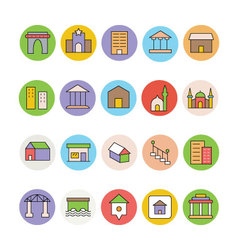 Architecture and buildings icons 4 vector