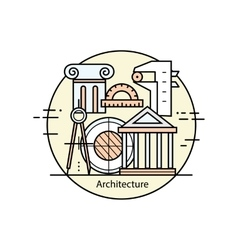 Modern color thin line art design architecture and vector