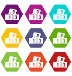 bricks icon set color hexahedron vector image vector image