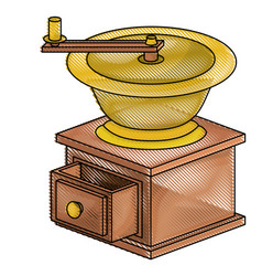 Coffee grinding with crank side view colored vector
