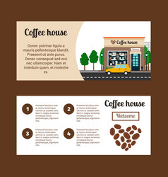 coffee house horizontal flyers vector image vector image